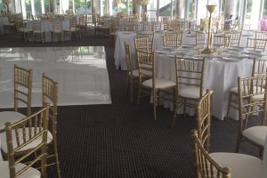 gold table and chairs rental