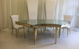 Golden table and chairs